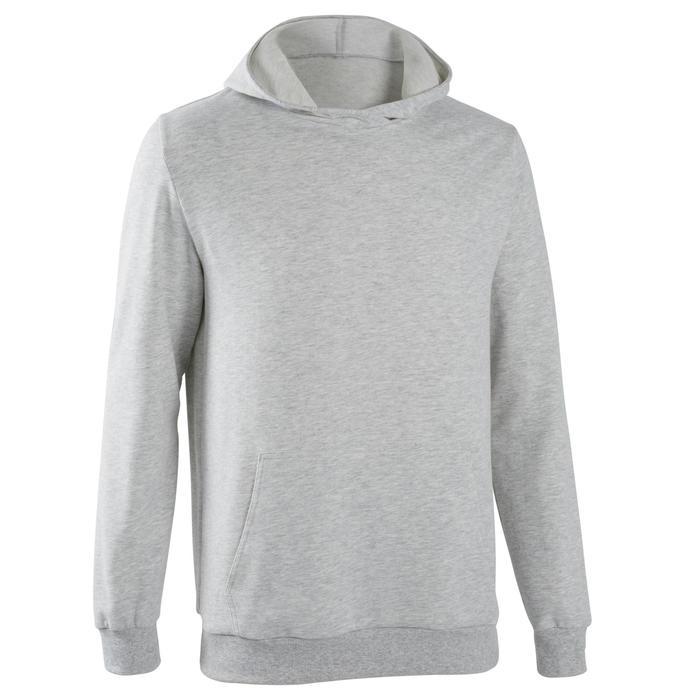 Hoodie voor gym heren 500 gemêleerd grijs