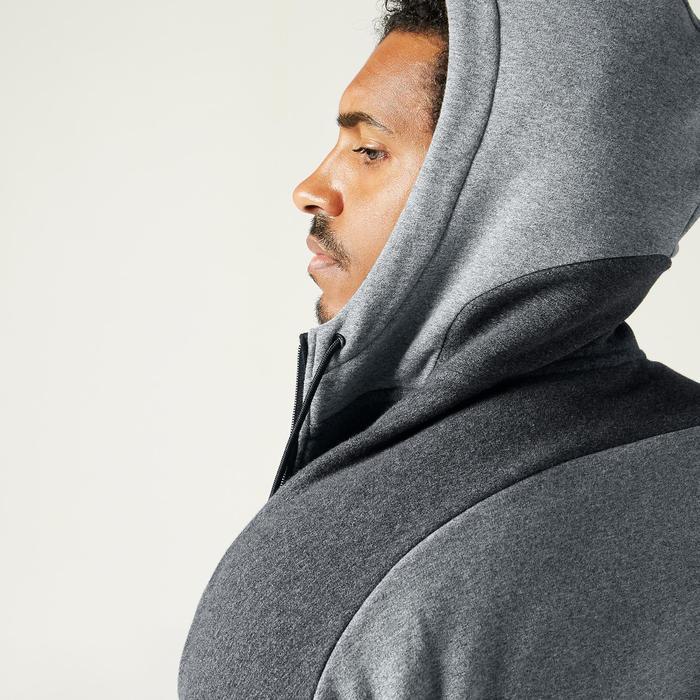 Sweat Zippé à Capuche Fitness Molleton Gris Chiné