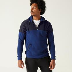 Hoodie voor fitness molton blauw en zwart