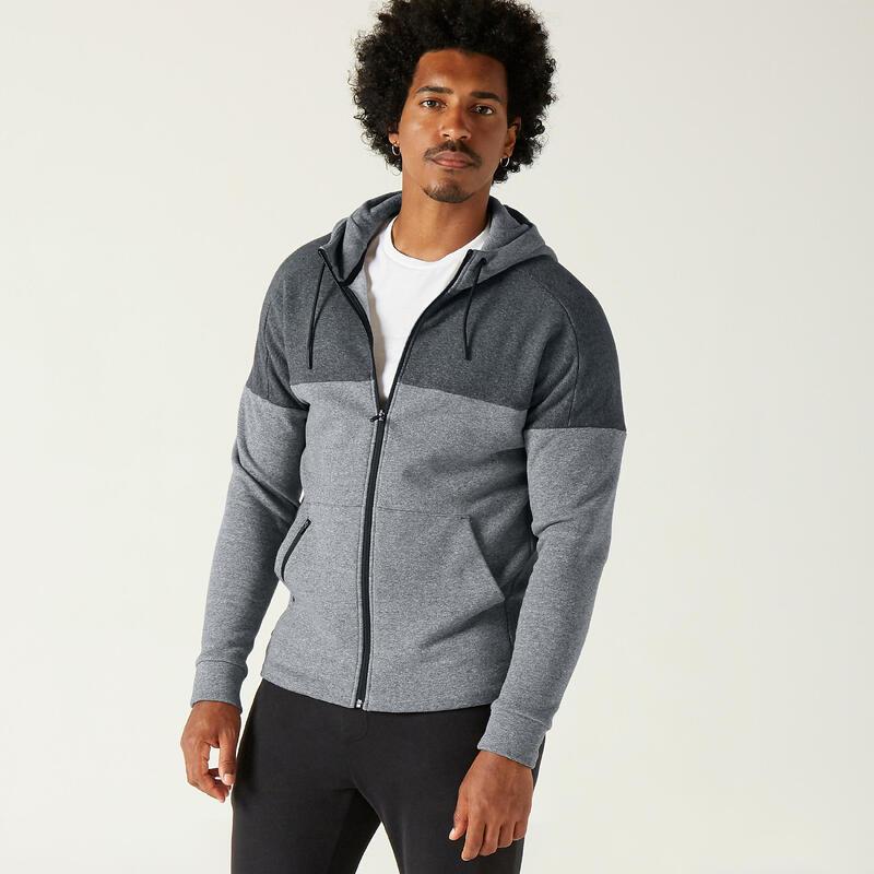 Lightweight Zip-Up Fitness Fleece Hoodie - Mottled Grey