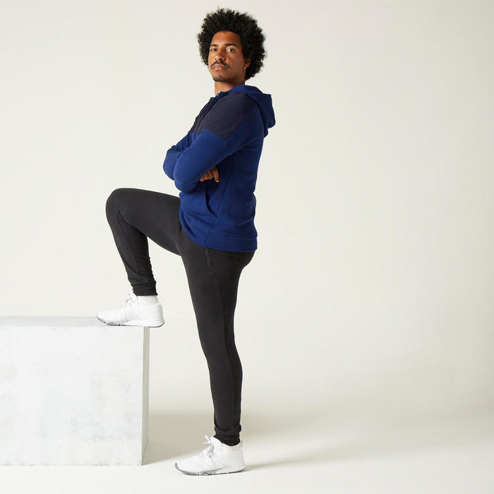 Sweat à Capuche Fitness Molleton Bleu et Noir