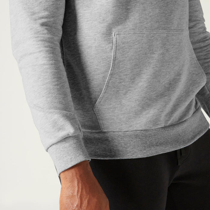 Sweat à Capuche 500 Homme Gris Chiné
