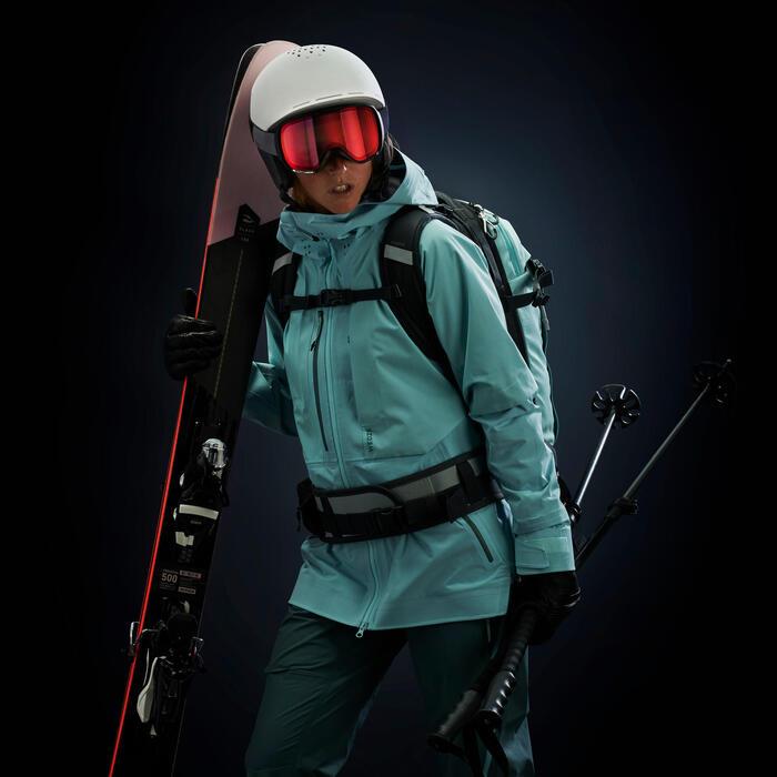 Skibroek met bretels voor dames freeride FR900 groen
