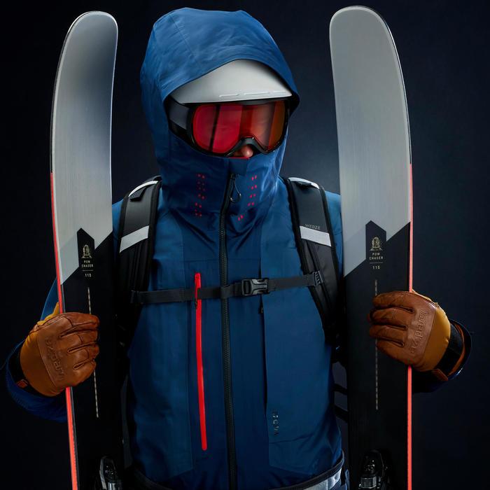 Skidonsjas voor heren freeride midlayer FR900 Warm antracietgrijs