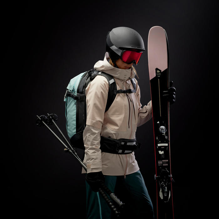 Veste couche 2 de ski freeride Femme JKT C2 SKI FR 900 F LIGHT Blanc Gris