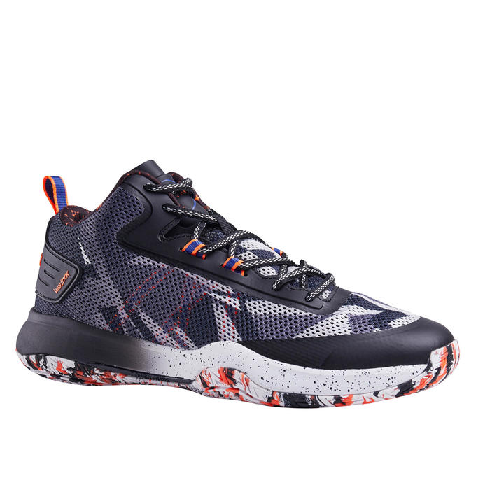 Men's Mid-Rise Basketball Shoes SC500 - Grey/Blue/Orange