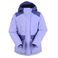 女童款保暖航海外套100-淡紫色/藍色