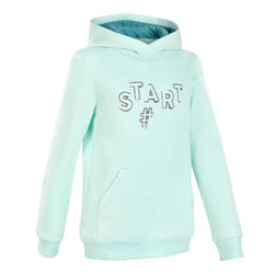 Girls' Warm Fleece Gym Hoodie 100 - Green Print