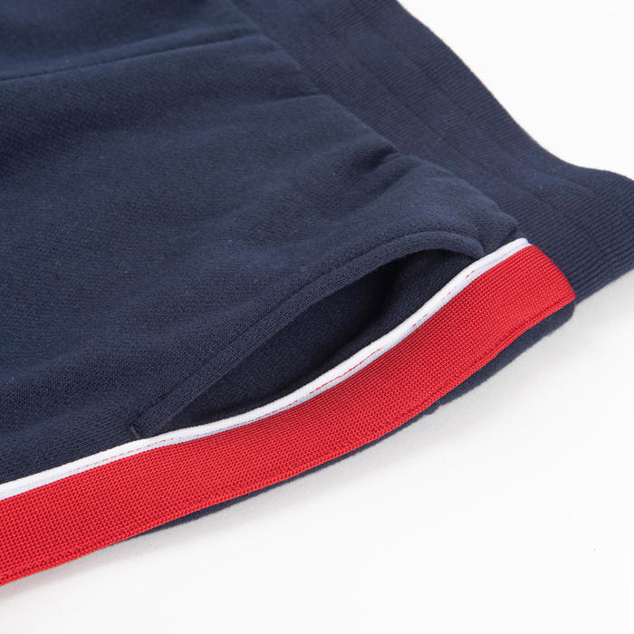 男童健身保暖寬鬆剪裁長褲100 - 軍藍色/紅色邊條