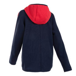 Boys' Gym Warm Hoodie 100 - Navy/Red and White Sleeves
