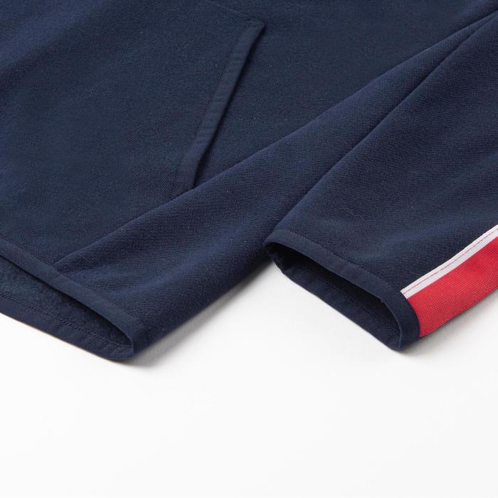 男童健身保暖連帽衫100 - 軍藍色/紅色與白色袖款