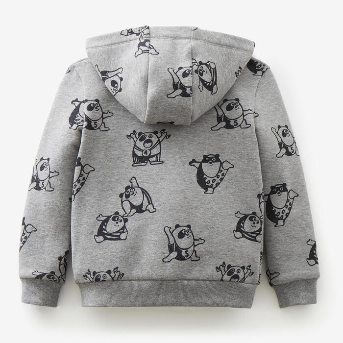 Warm vest voor peuter- en kleutergym 120 grijs met print