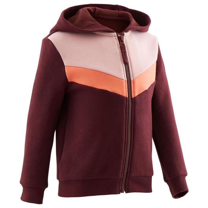Warm vest voor peuter- en kleutergym 120 bordeaux/roze