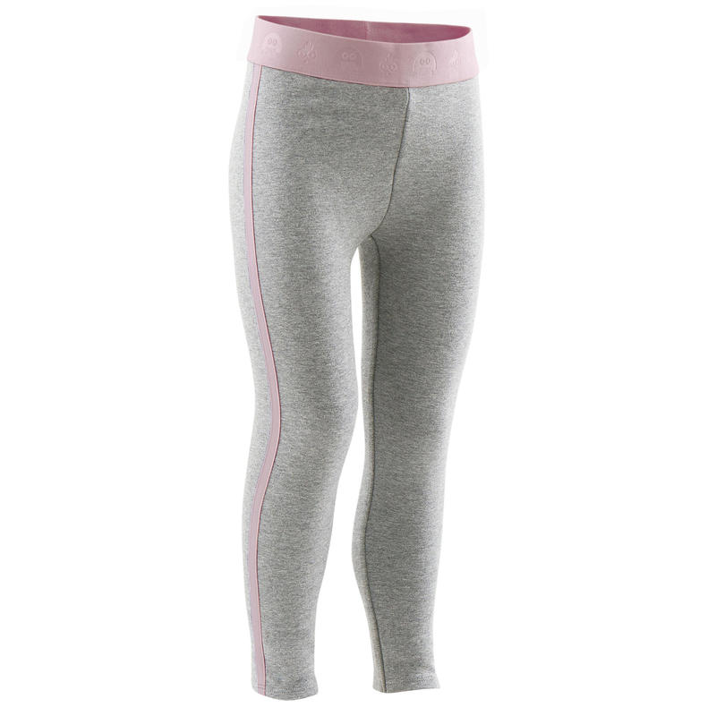 Warme legging voor kleutergym grijs/marineblauw
