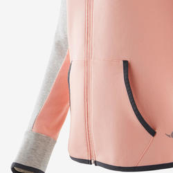 Veste capuche chaude 3/5, coton respirant 500, fille GYM ENFANT rose/gris chiné