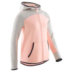 Warme gymhoodie voor meisjes 500 roze/gemêleerd grijs ademend katoen