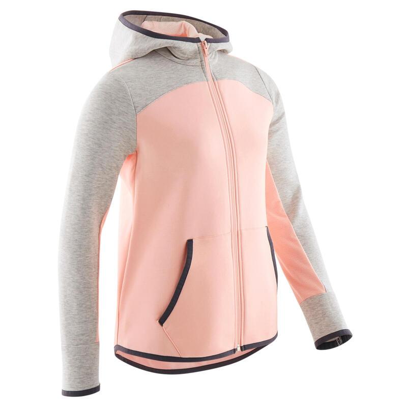 Sweat zippé chaud capuche rose et gris enfant
