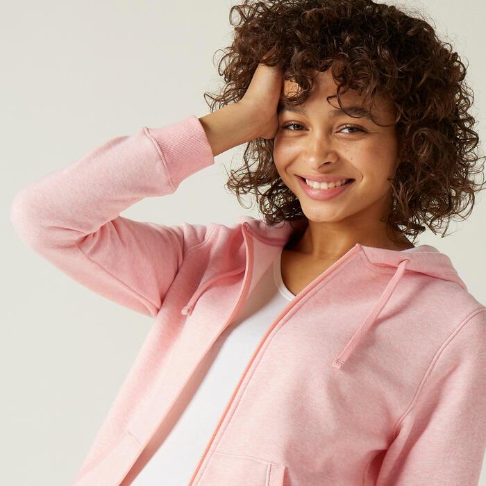 Hoodie met rits voor dames 500 roze