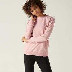Sweater voor fitness ronde hals roze