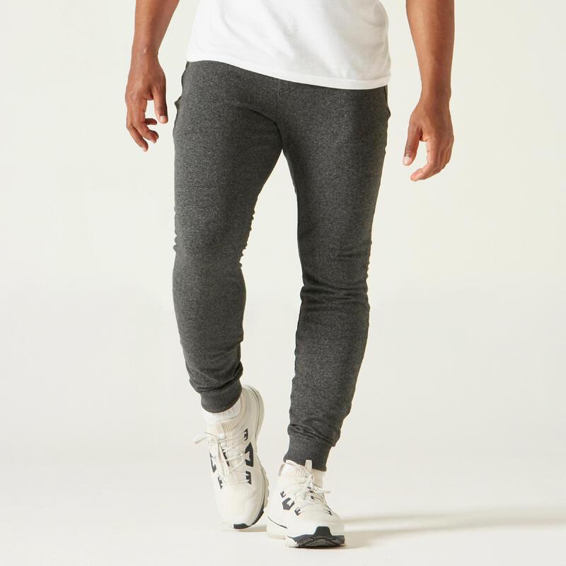 Pantalón jogger fitness Slim bolsillos cremalleras gris oscuro