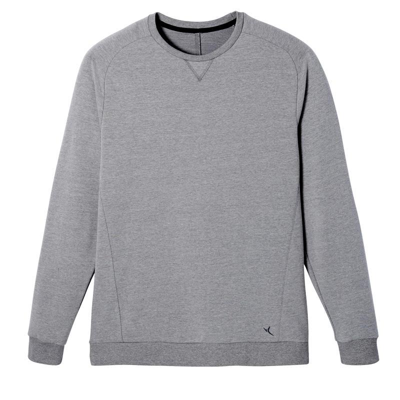 Crew Neck Fitness Sweatshirt - Mottled Light Grey