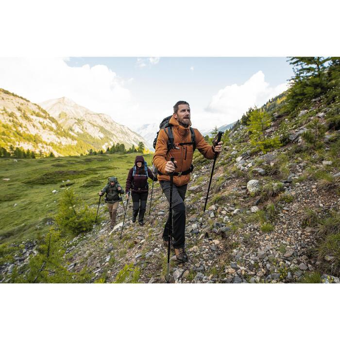 Gewatteerde jas met capuchon voor bergtrekking heren comfort -10°C Trek500 bruin