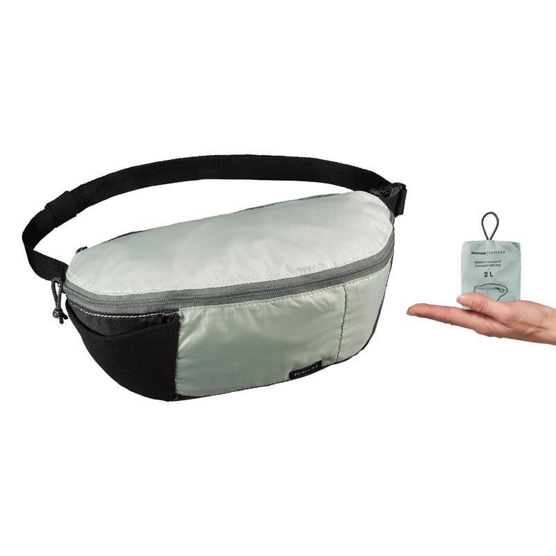 Compact 2 litre trekking travel bum bag TRAVEL 100 - Khaki