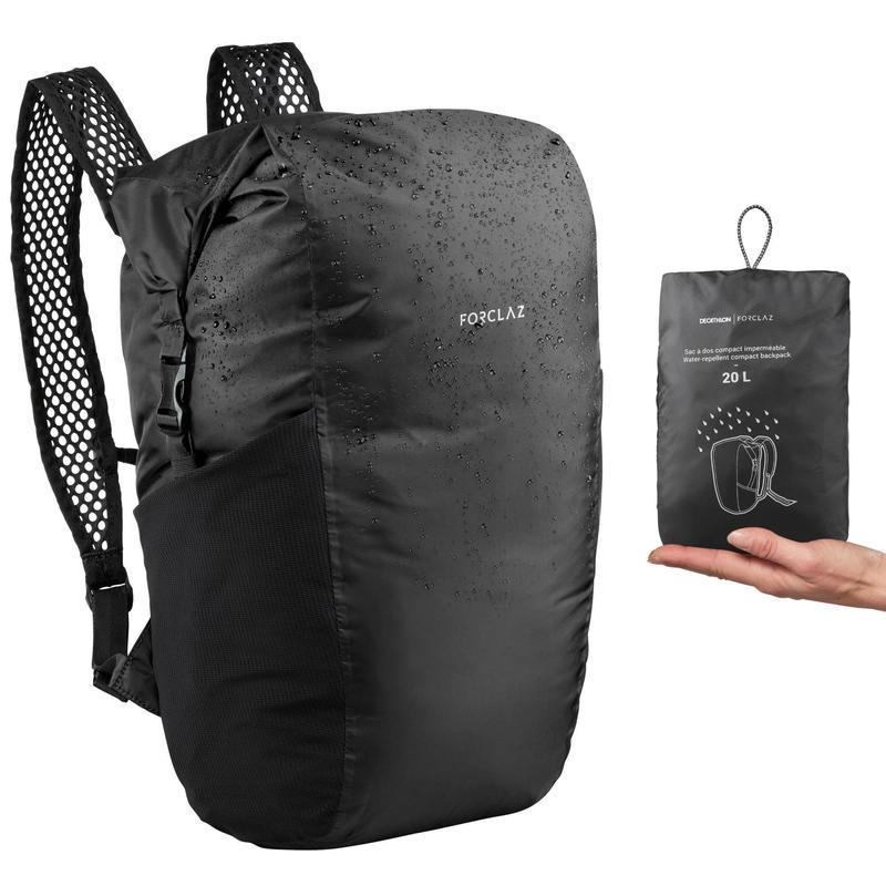 Compacte en waterdichte rugzak voor backpacken Travel 20 liter zwart