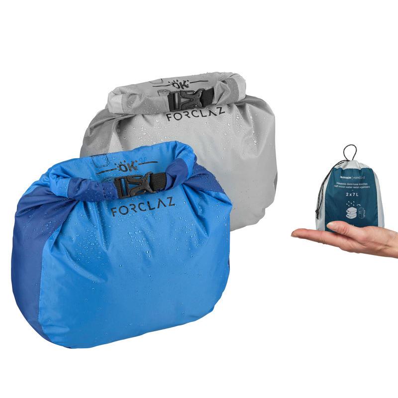 Set of 2 trekking storage covers with waterproof half-moon - 2x7L
