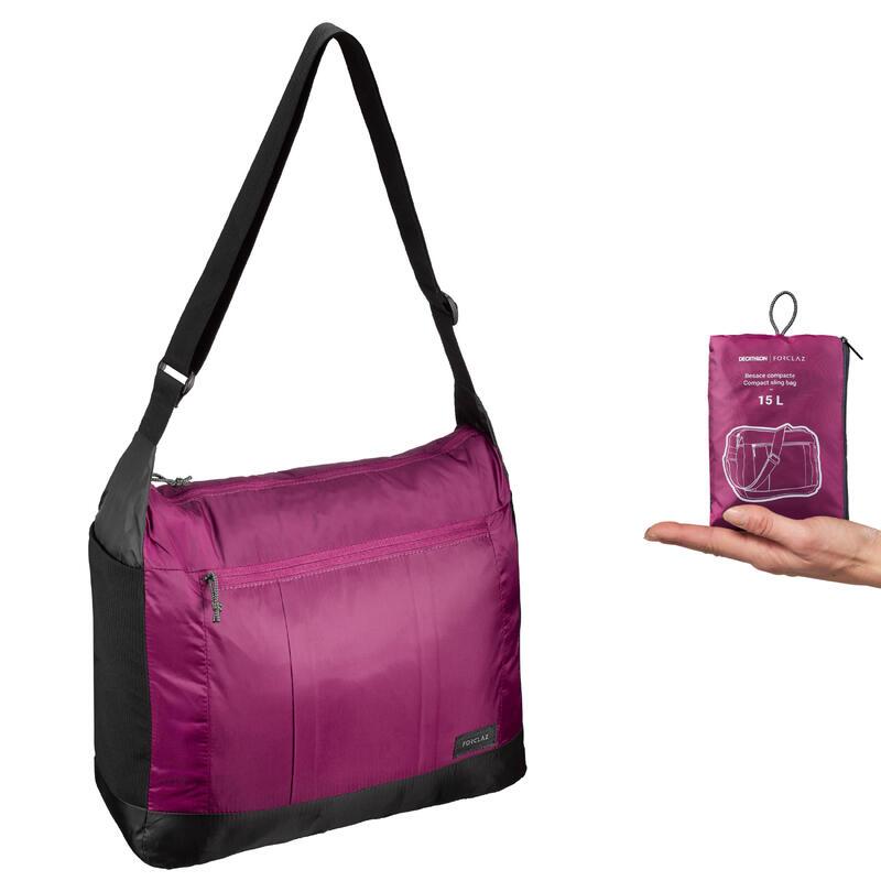 Compacte schoudertas voor backpacken TRAVEL paars 15 liter