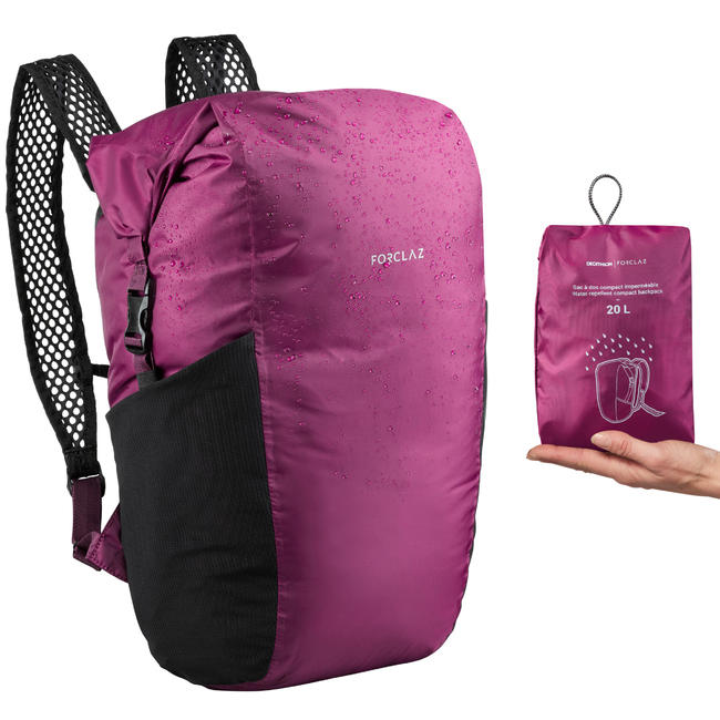 Compact Waterproof 20 Litre Backpack Travel 100 - Purple