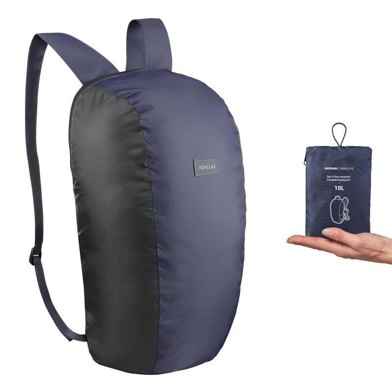 Mochila de Montaña y Trekking Viaje, Forclaz, Compact 10 Litros, Azul Marino