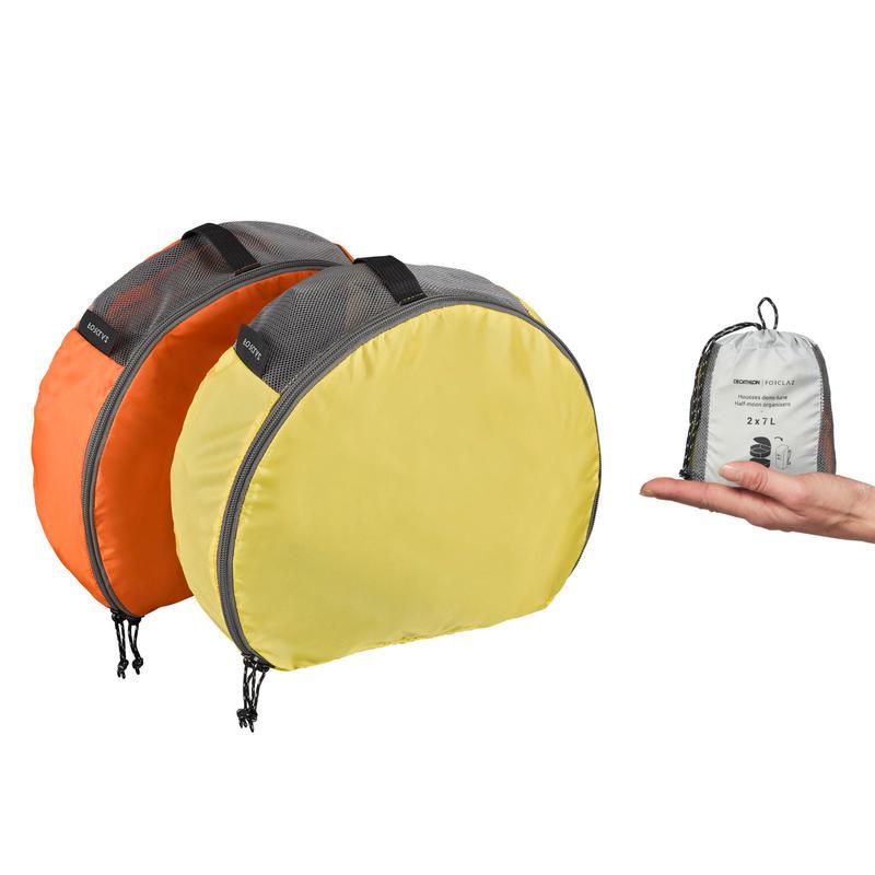 Fundas De Guardado Camping Trekking Forclaz Naranja Amarillo 2X7 L Lote x2