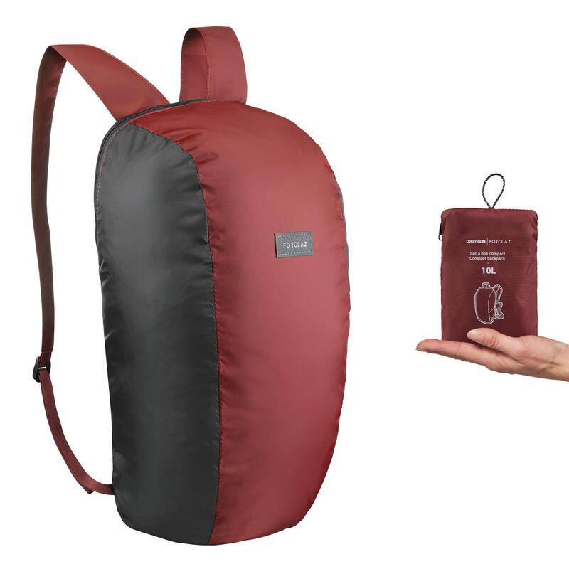 Mochila de Montaña y Trekking Viaje, Forclaz, Compact 10 Litros, Rojo