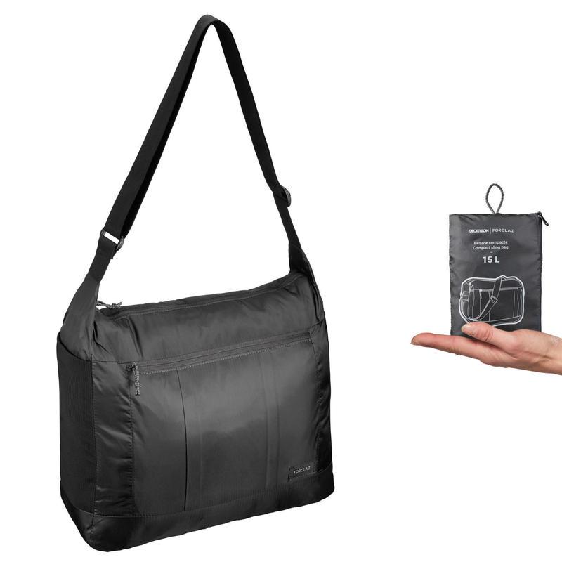 Compacte schoudertas voor backpacken TRAVEL zwart 15 liter