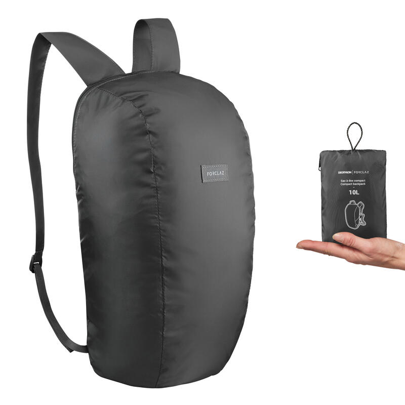 Mochila de Montaña y Trekking Viaje, Forclaz, Compact 10 Litros, Negro