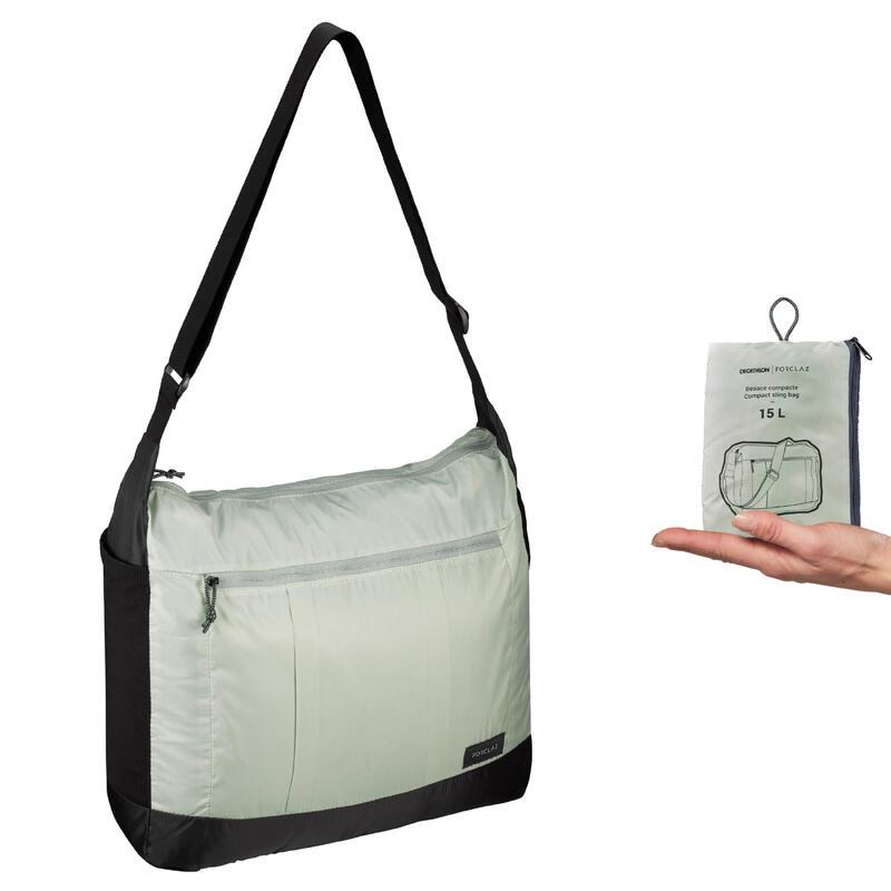 Compacte schoudertas voor backpacken Travel 15 liter groen