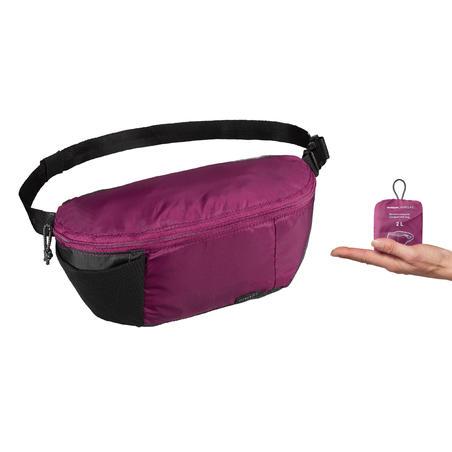 Compact 2 litre trekking travel bum bag TRAVEL 100 - Purple