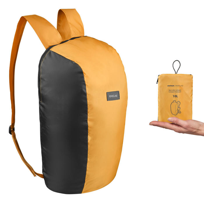 Compacte rugzak voor backpacken 10 liter Travel 100 geel