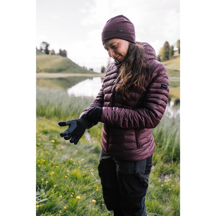 Touchscreen onderhandschoenen voor trekking uniseks TREK 500 paars