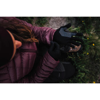 中性登山健行觸控內襯手套Trek 500-灰色