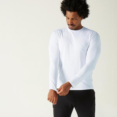Fitness Long-Sleeved Cotton T-Shirt - White