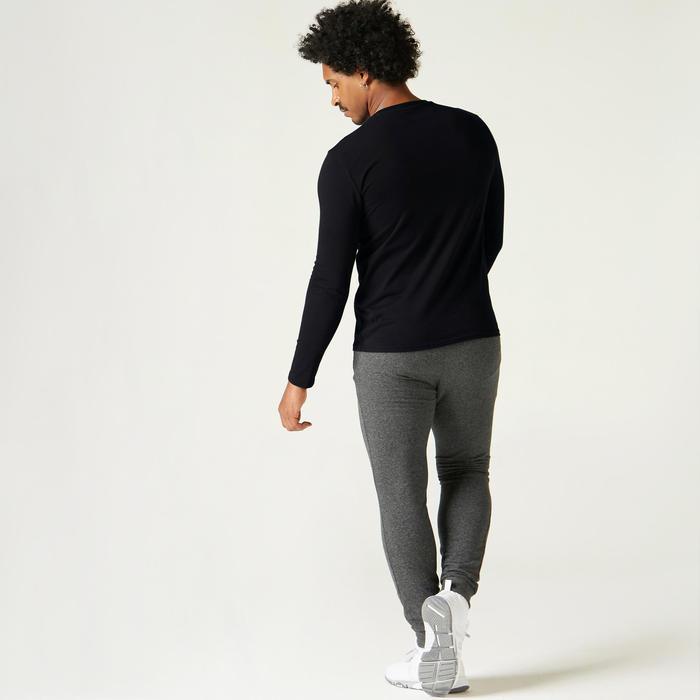 T-Shirt Manches Longues Coton Fitness Noir