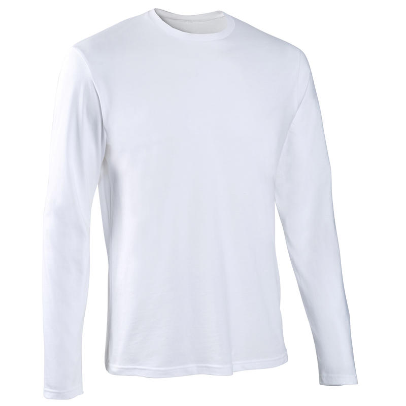T-Shirt Manches Longues Coton Fitness Blanc