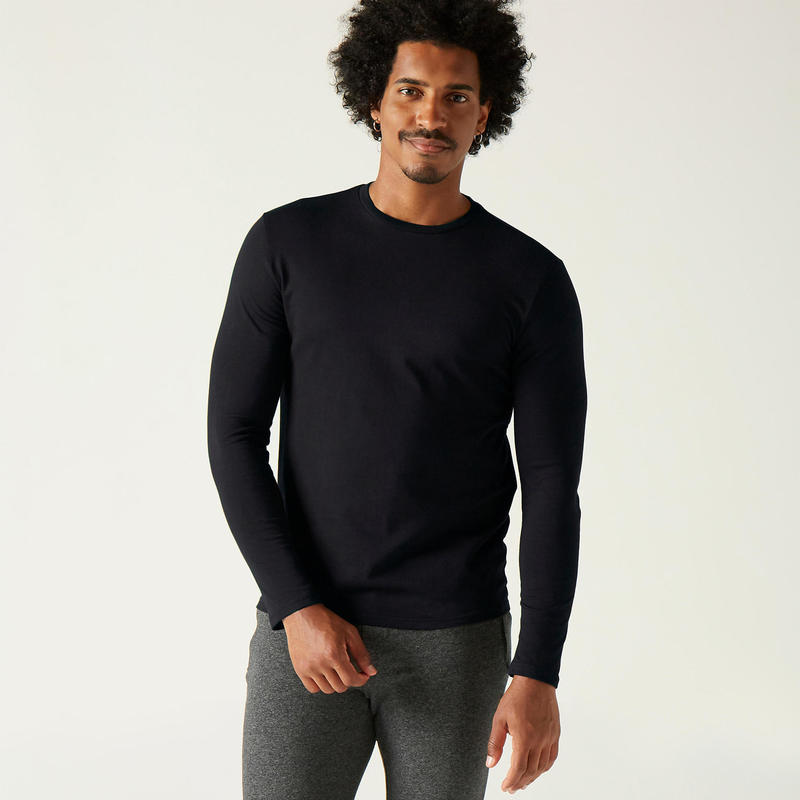 Camiseta fitness manga larga slim algodón cuello redondo negro hombre