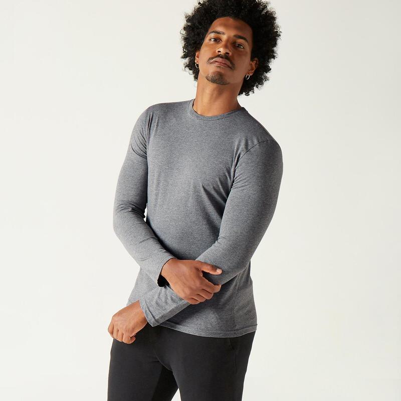 T-shirt fitness manches longues slim coton col rond homme gris chiné