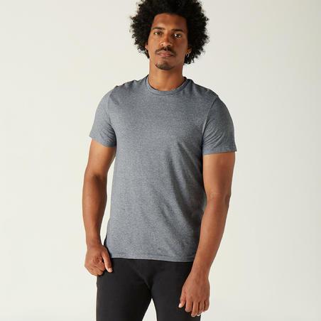 Vīriešu 100% kokvilnas sporta T-krekls, tumši pelēks