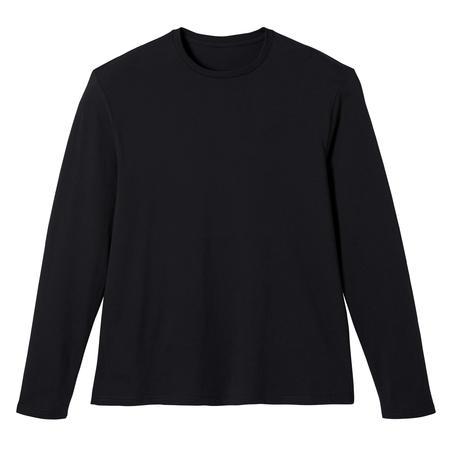 Fitness Long-Sleeved Cotton T-Shirt - Black