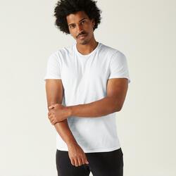 T-shirt fitness Sportee manches courtes slim coton col rond homme blanc glacier