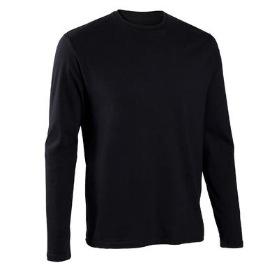 Camiseta manga larga 100 hombre negro